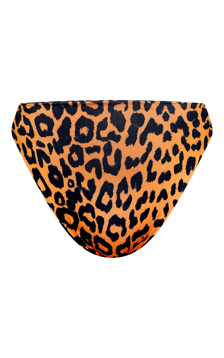 Orange Cheetah Print High Waisted High Leg Bikini Bottom 3