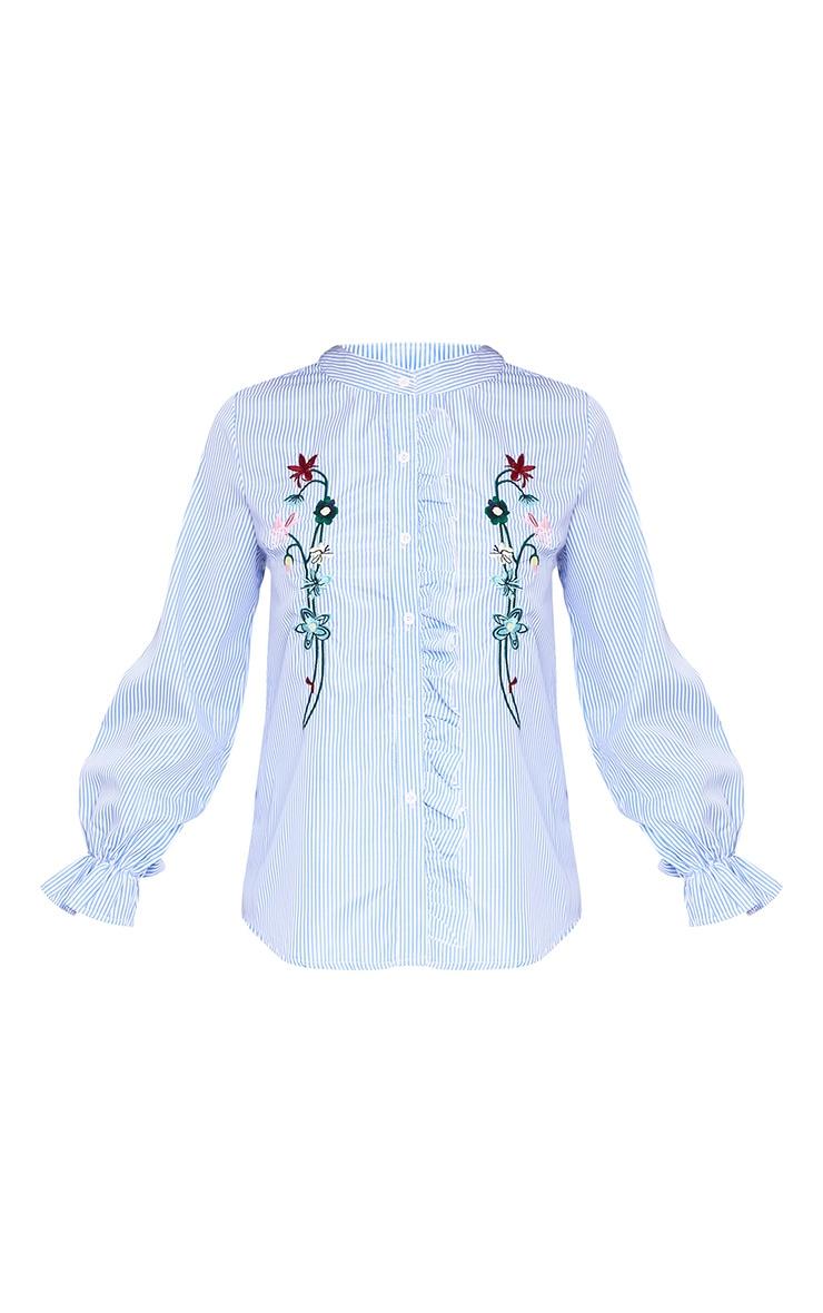 Linette Blue Embroidered Stripe Shirt 3