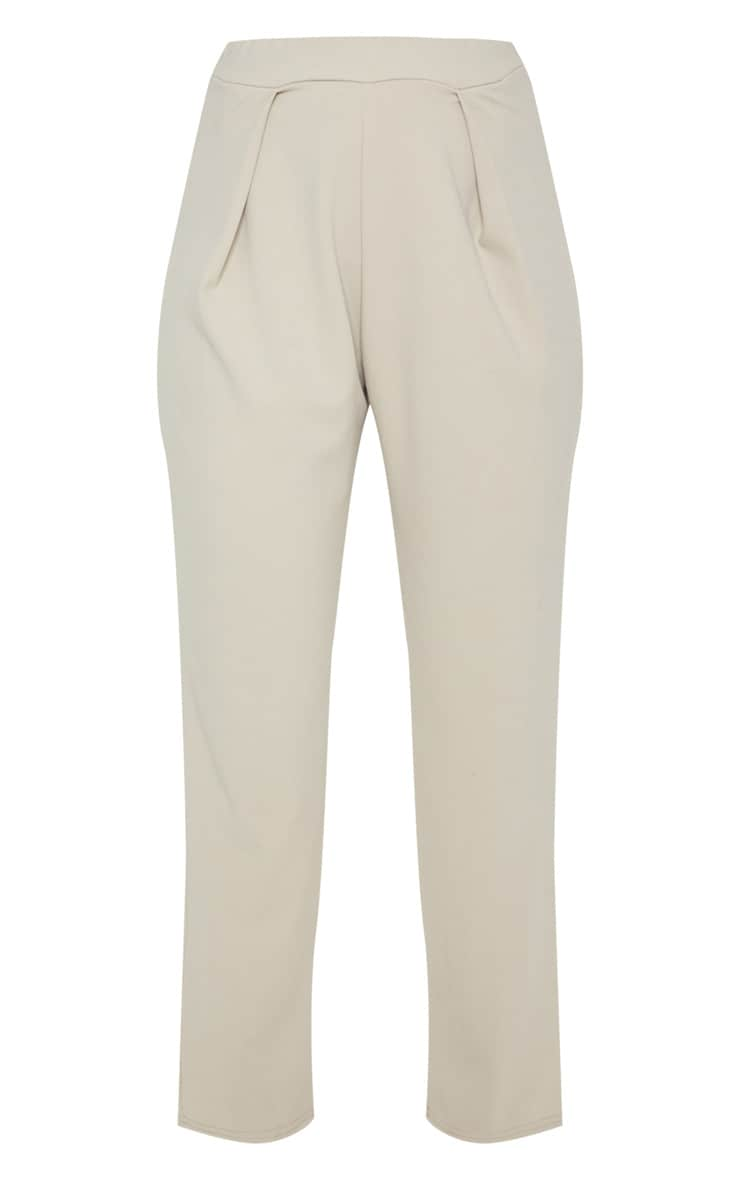 Stone High Waisted Pleat Detail Tapered Trouser 3