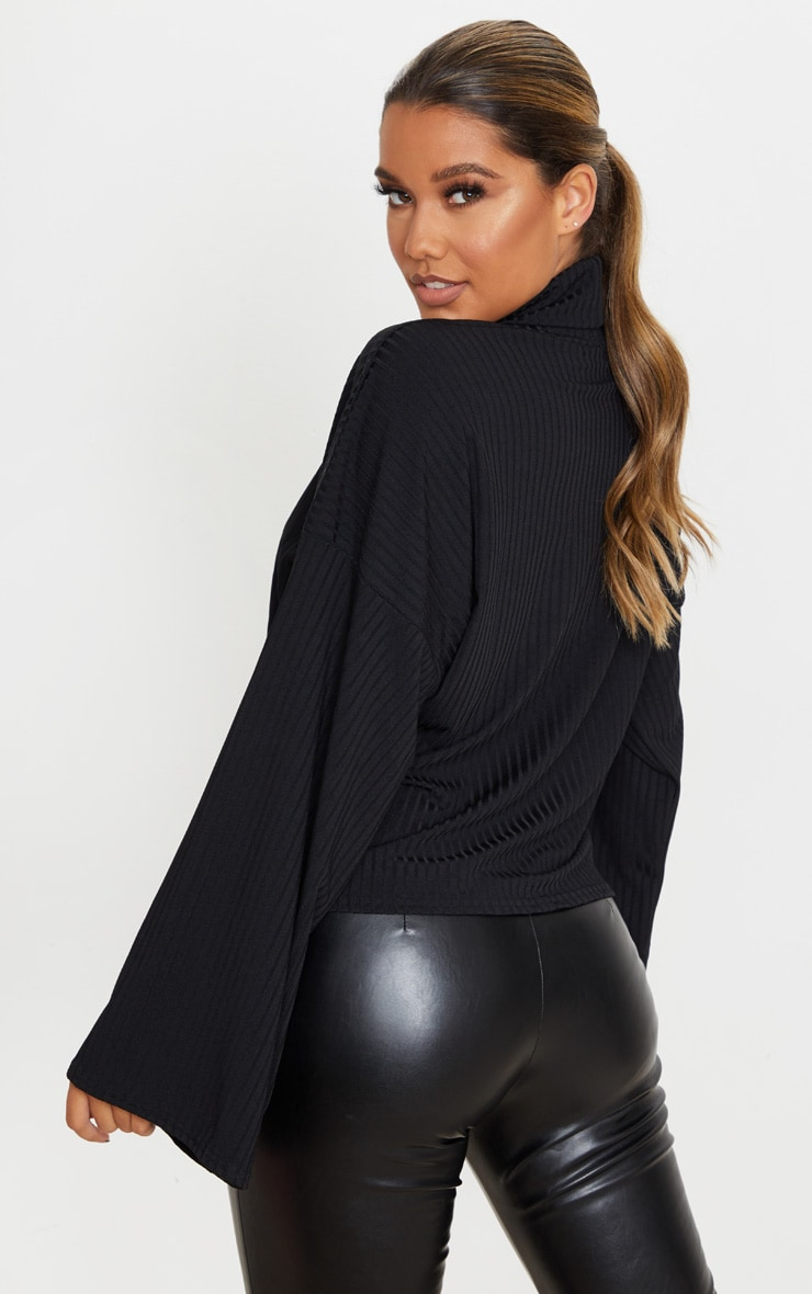 Black Roll Neck Oversized Sweater 2