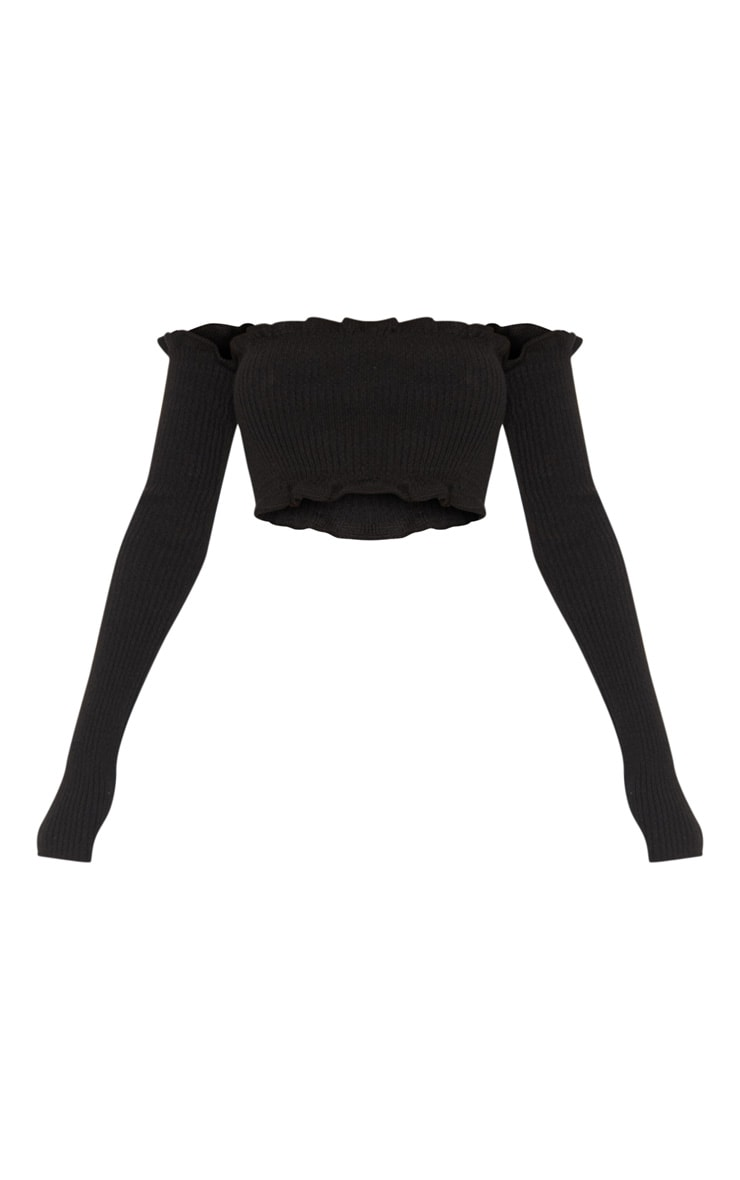 Giani Black Ruffle Detail Knit Bardot Long Sleeve Top 3