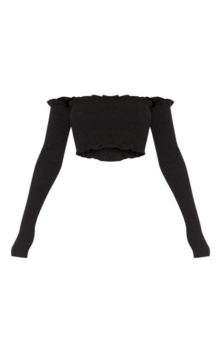 Giani top manches longues bardot tricoté à volants noir 3