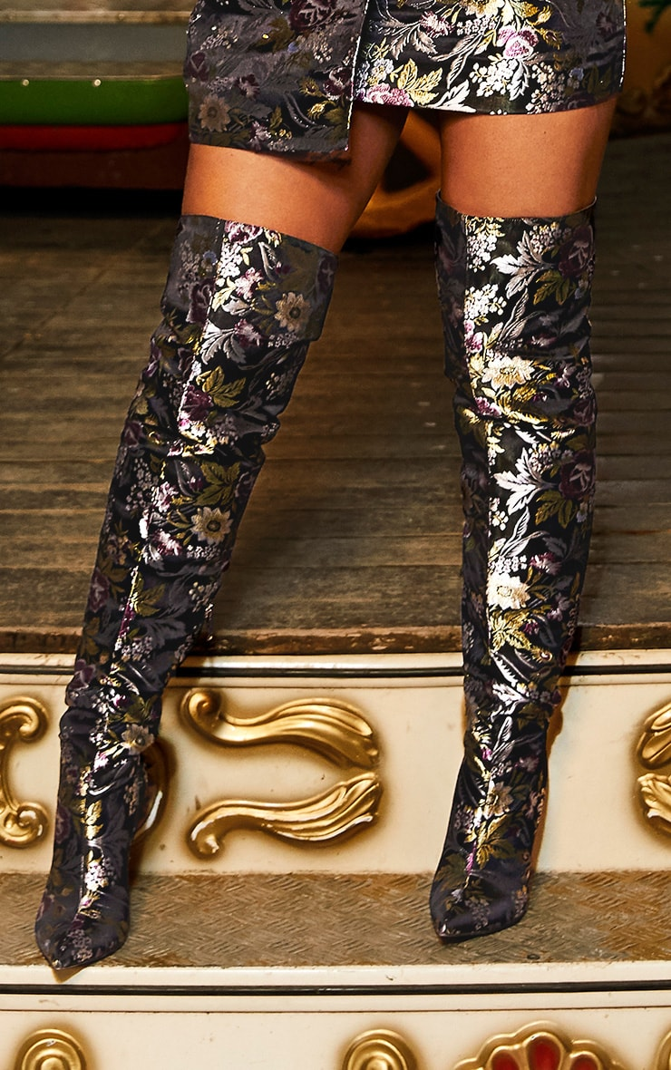 Black Floral Oriental Thigh High Boot 1