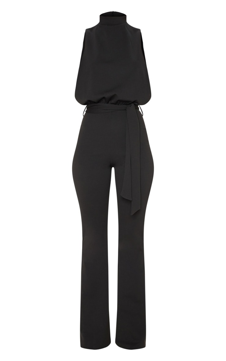 Black Scuba High Neck Tie Waist Jumpsuit 3