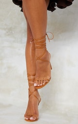 Camel PU Round Toe Barely There Strappy Heeled Sandals 2