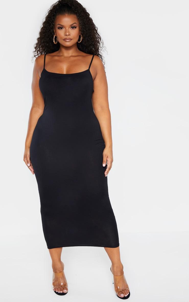 Plus Black Strappy Jersey Maxi Dress 1