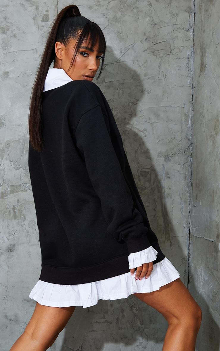 PRETTYLITTLETHING Black Contrast Shirt Detail Sweat Jumper Dress 2