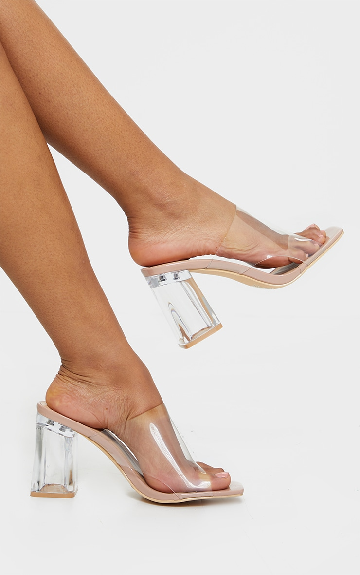 Nude Wide Fit Clear Flared Block Heel Mules 2