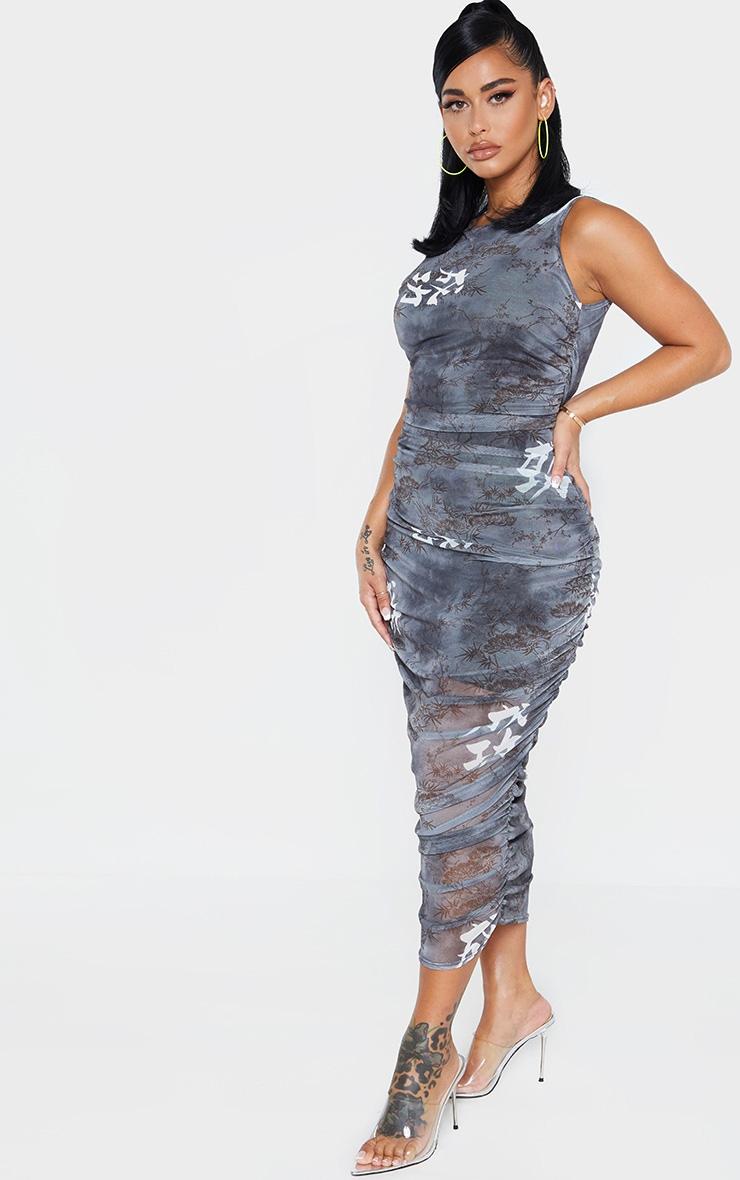 Shape Black Printed Sleeveless Midi Dress 4
