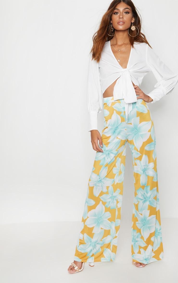 Mustard Slinky Floral Print Wide Leg Trouser