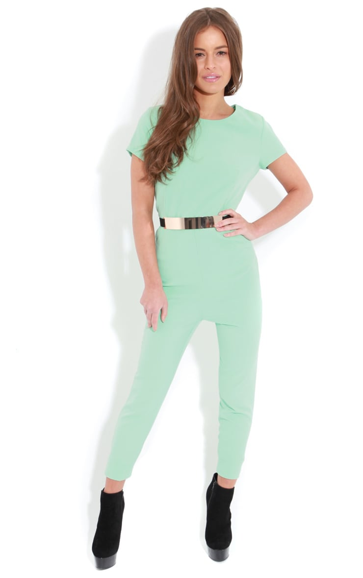 Alberta Mint Short Sleeve Belted Jumpsuit 1