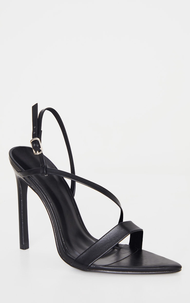 Black Asymmetric Strap Point Toe Heeled Sandal 3