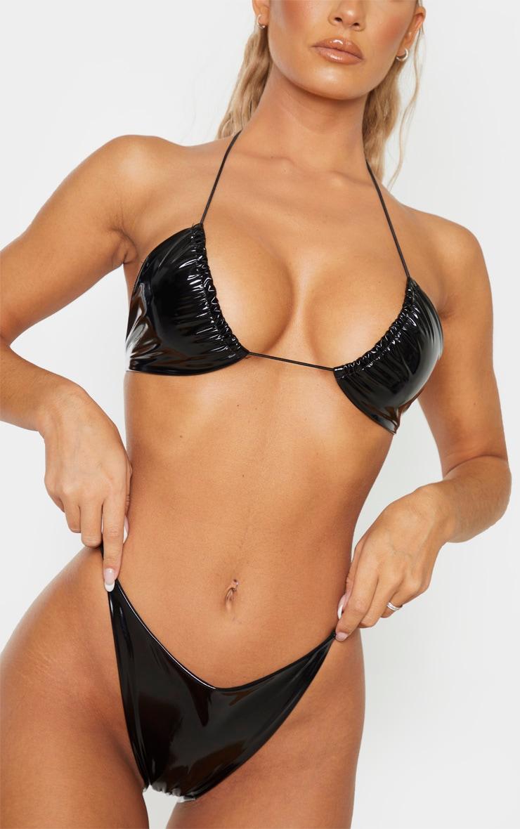 Bas de bikini en vinyle noir à lanières élastiques 1