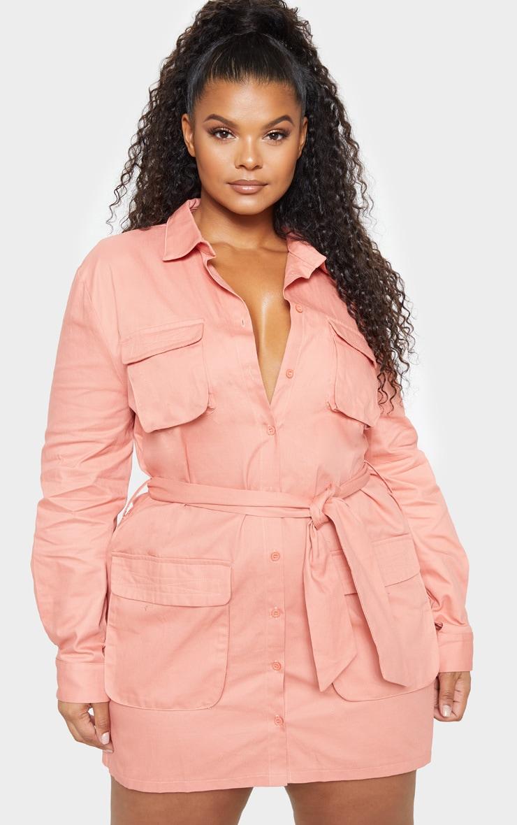 8aa8fccd831 Plus Peach Utility Tie Waist Shirt Dress image 1