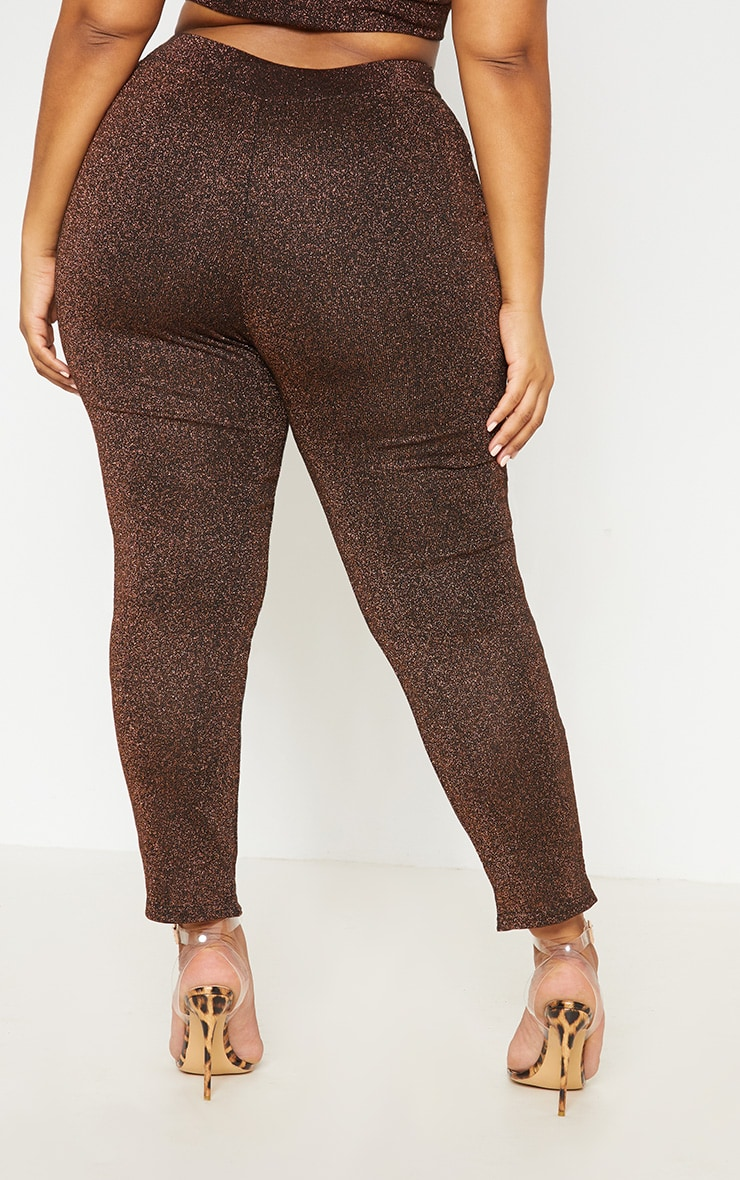 Bronze Metallic Straight Leg Pants 5