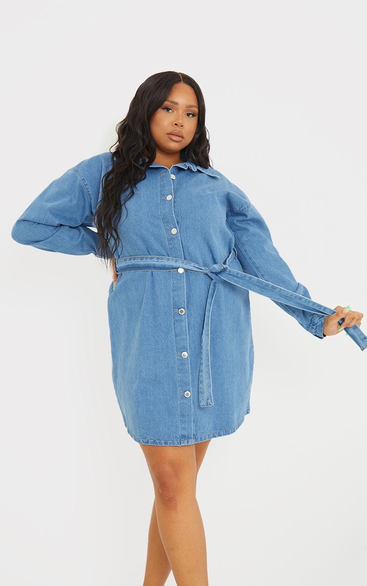 Plus Mid Wash Denim Long Sleeve Button Up Bodycon Dress 3
