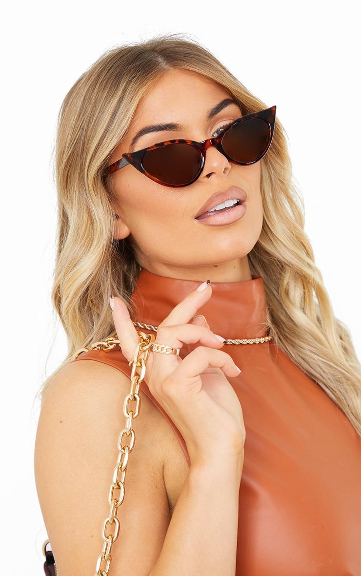 Brown Tortoiseshell Extreme Cat Eye Retro Sunglasses 1