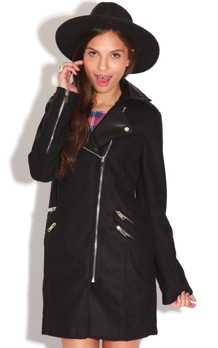 Matisse Black Biker Jacket Coat  5