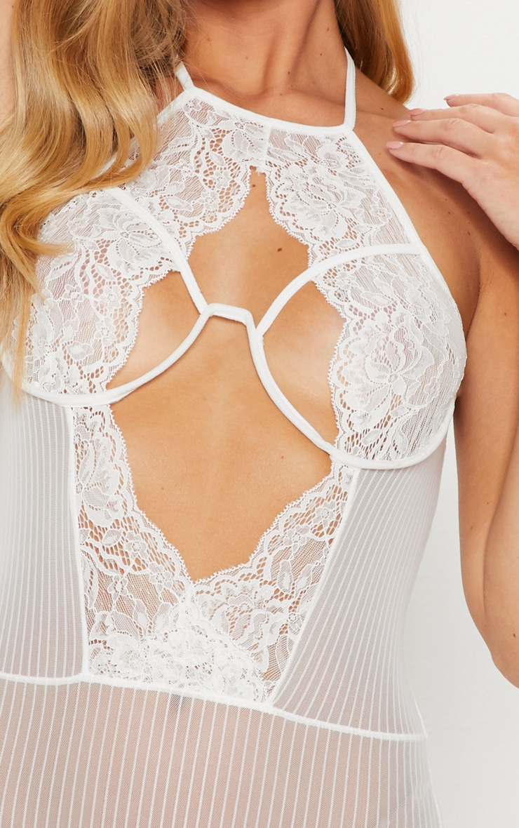 White Striped Underwired Cleavage Cut Out Body 6