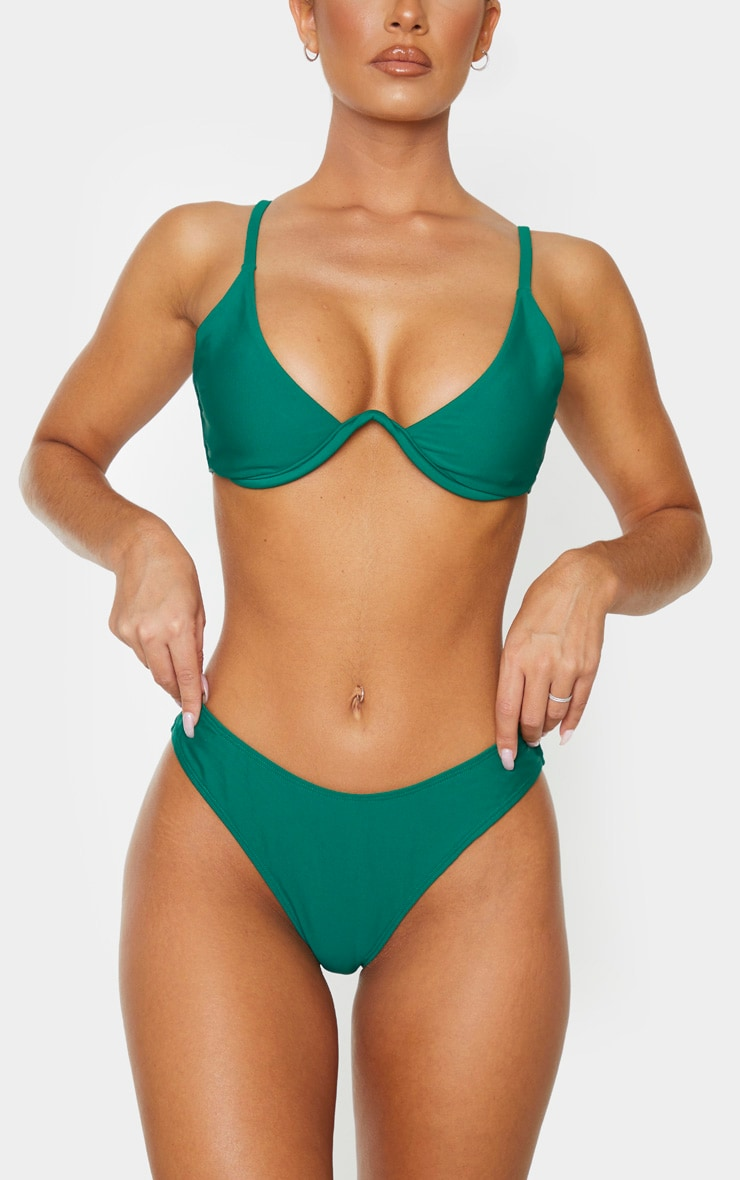 Emerald Green Mini Brazilian Bikini Bottoms 1