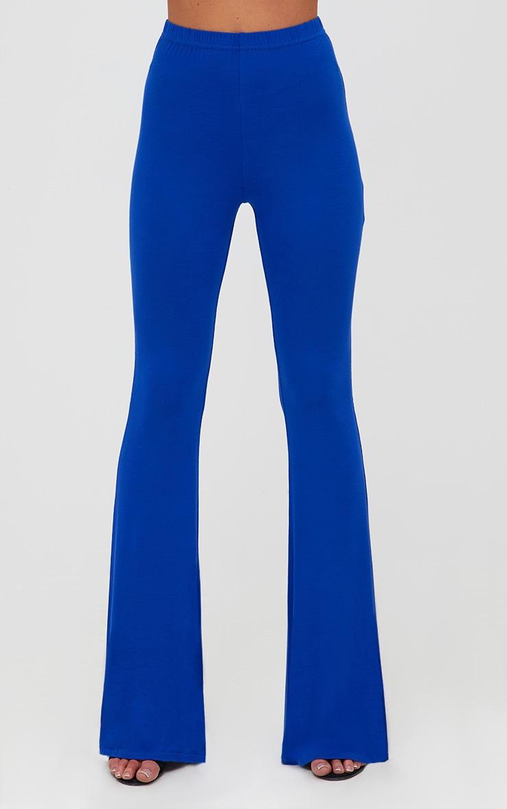 Pantalon évasé en jersey cobalt 2