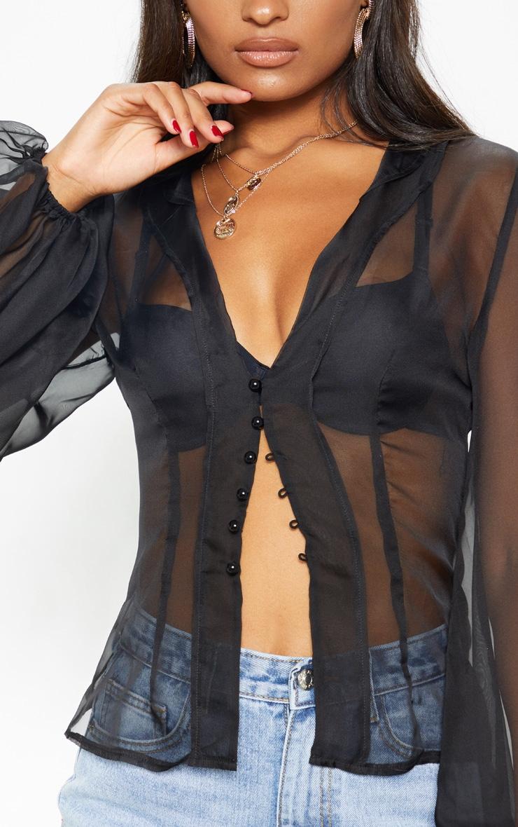 Black Sheer Ruffle Collar Shirt 4