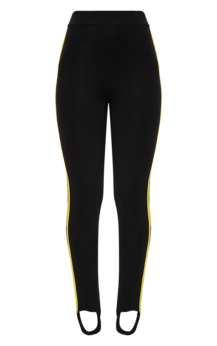 Black Track Stripe Stirrup Leggings 3