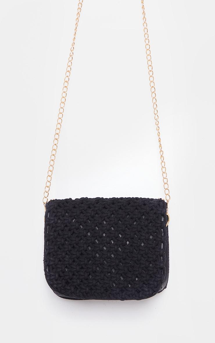 Black Woven Gold Trim Cross Body Bag 3