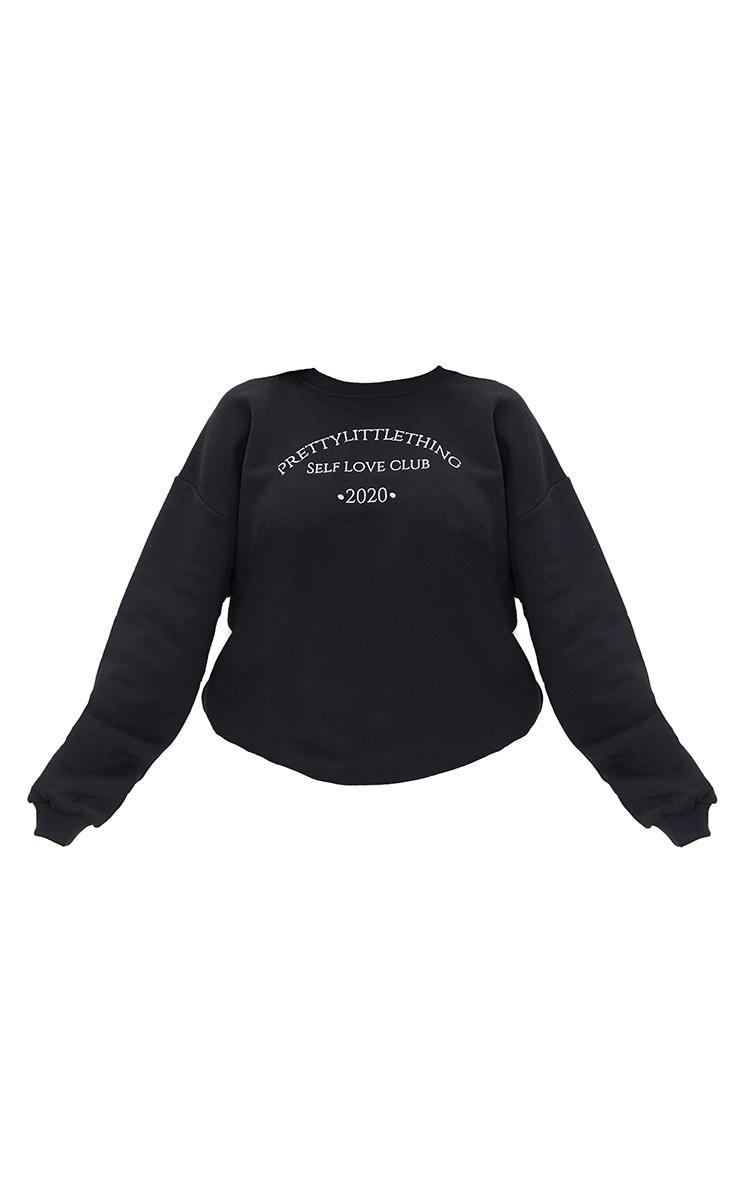 PRETTYLITTLETHING  Black Self Love Club Embroidered Sweatshirt 5
