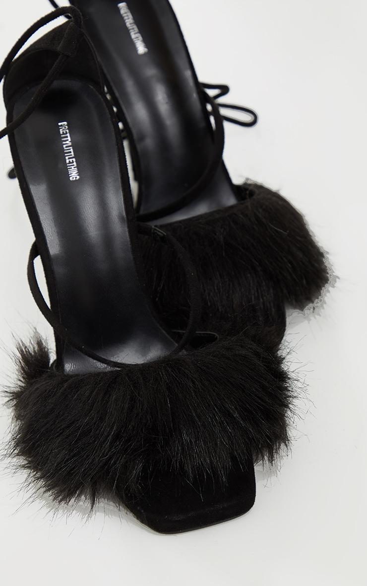Black Faux Fur Lace Up High Heels 3
