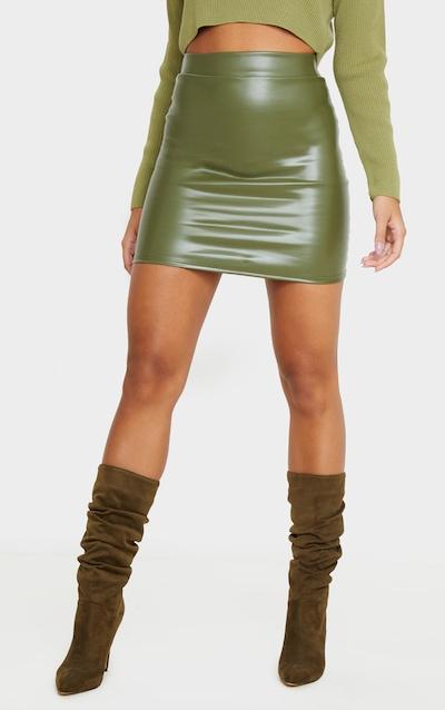 Khaki Basic Faux Leather Mini Skirt
