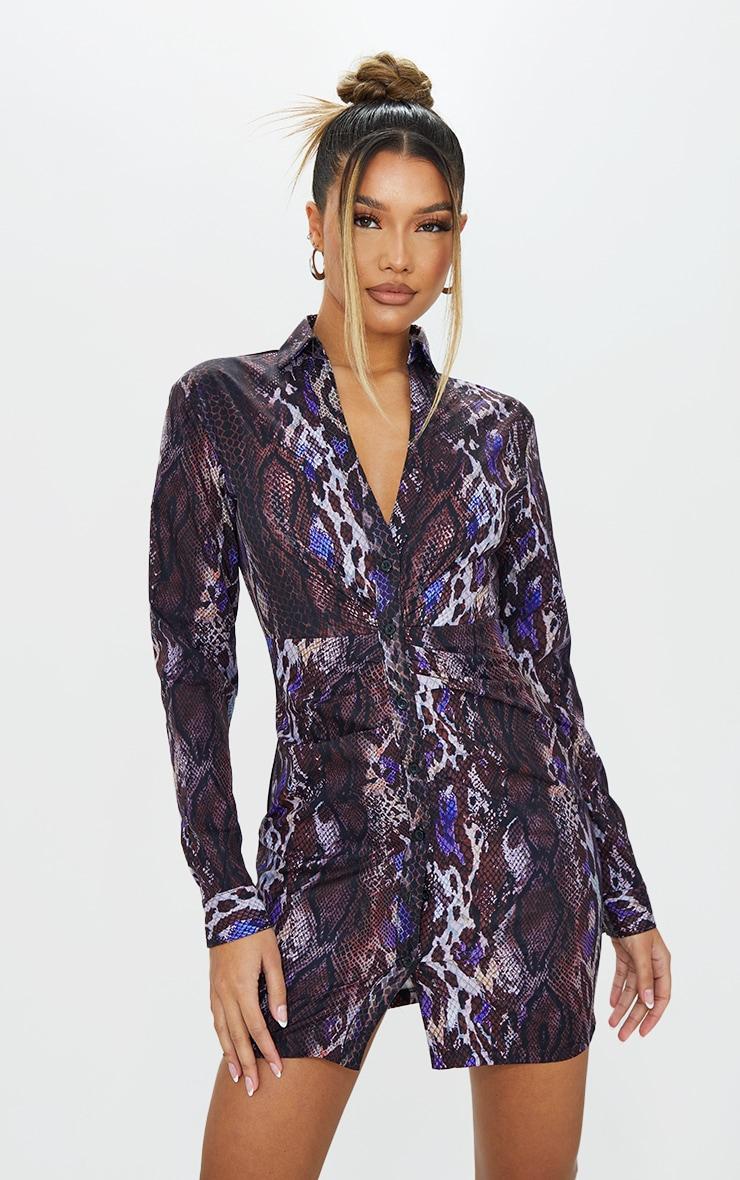 Brown Snake Print Ruched Waist Detail Plunge Shirt Dress 1