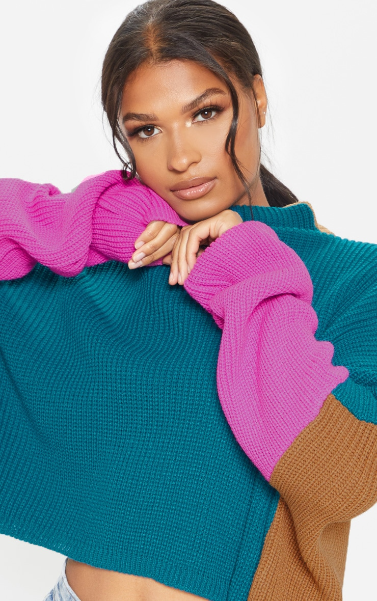 Teal Oversized Colour Block Sweater 5