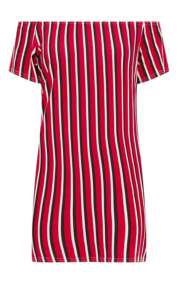 Red Striped Bardot Shift Dress 3