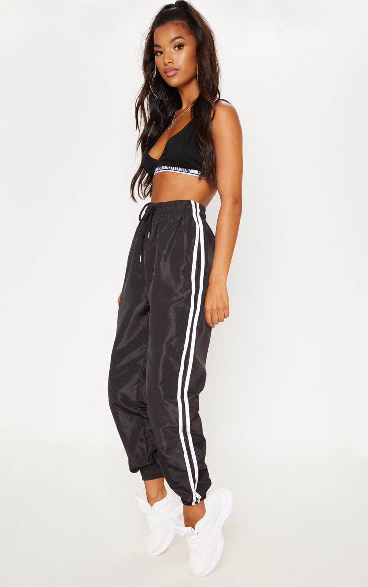 Black Contrast Side Stripe Shell Joggers 1