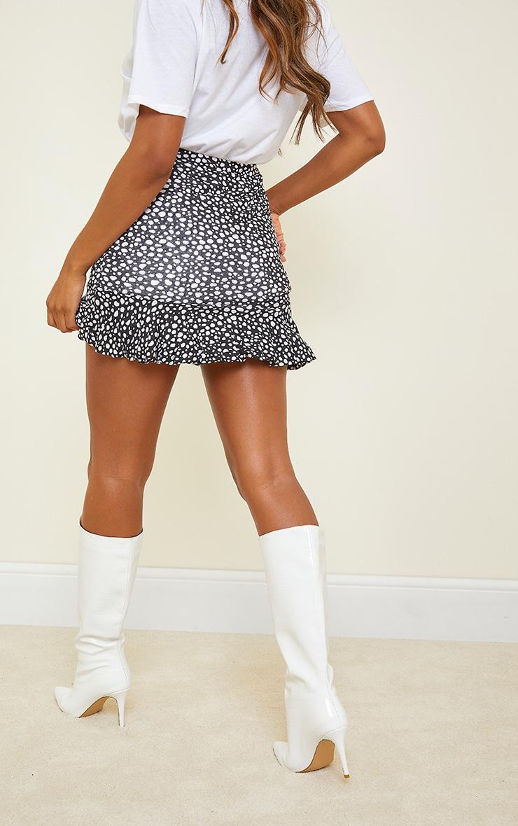 Black Dalmatian Jersey Printed Frill Hem Mini Skirt 3