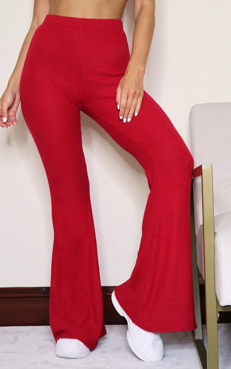 Scarlet Brushed Rib High Waisted Flared Pants 2