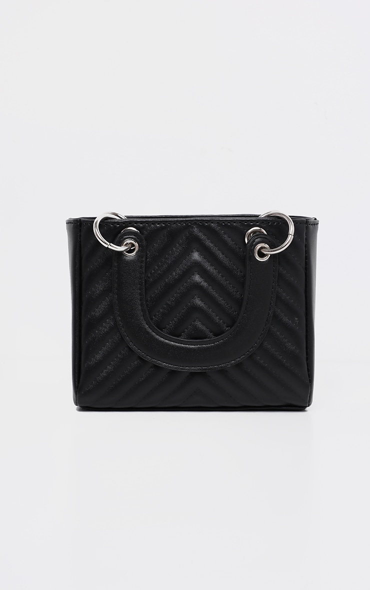 Black Chevron Quilted Grab Bag 4
