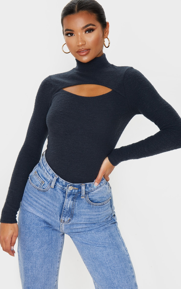 Charcoal Brushed Rib High Neck Cut Out Bodysuit 1