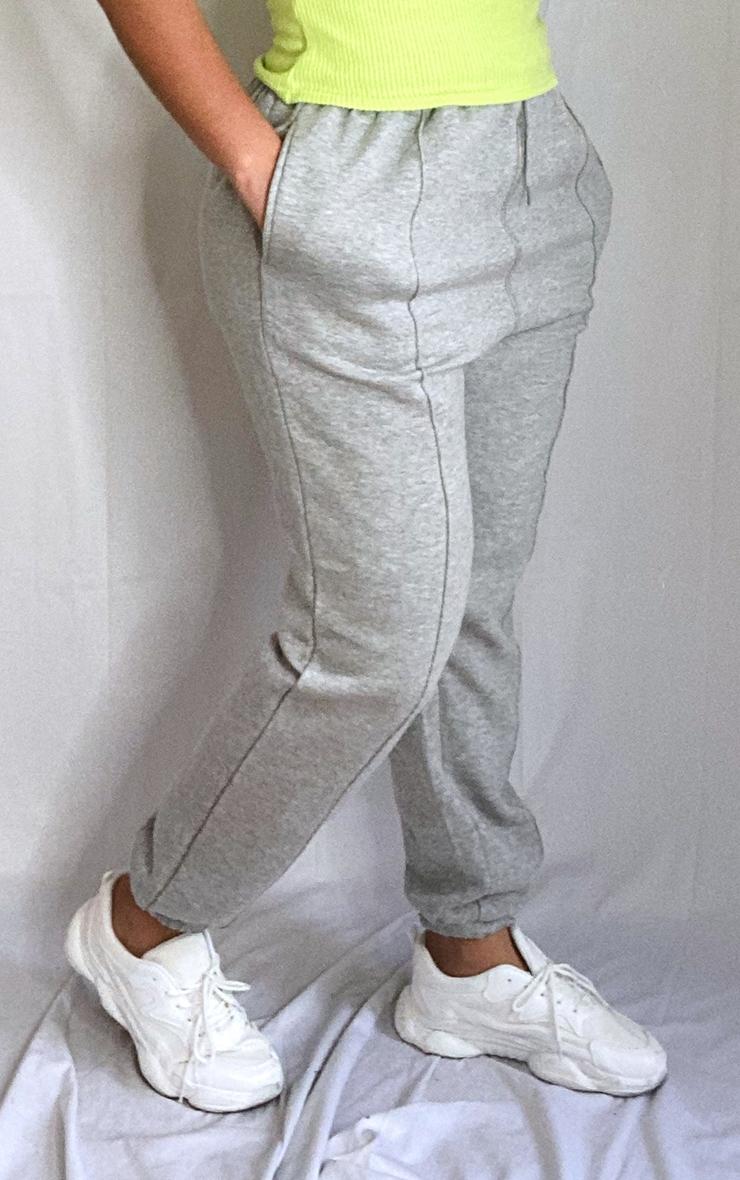 Plus Grey Seam Detail Waist Cuff Hem Joggers 2