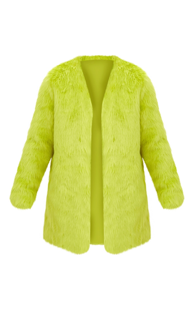 Lime Faux Fur Coat 3