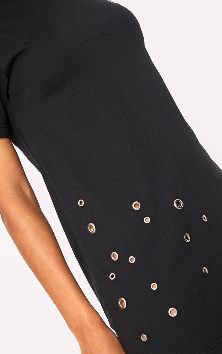 Black Jersey Eyelet Detail T Shirt Dress 5