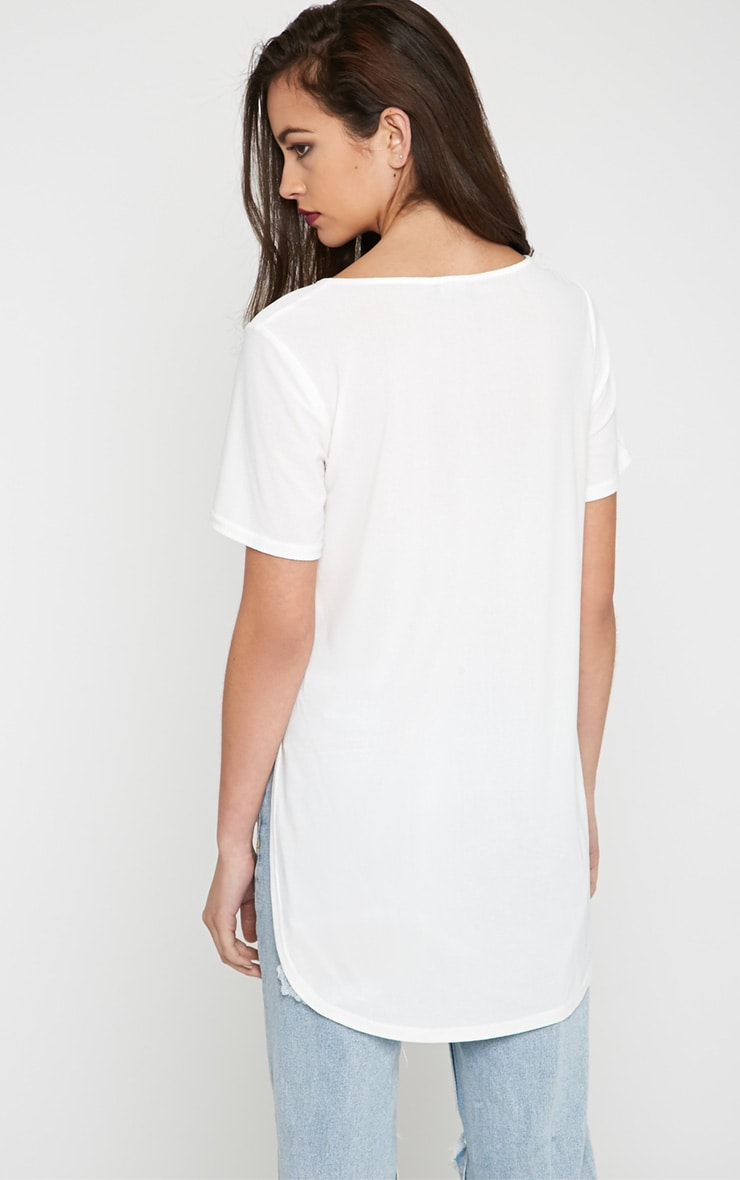 Dora White Dipped Hem Top 2