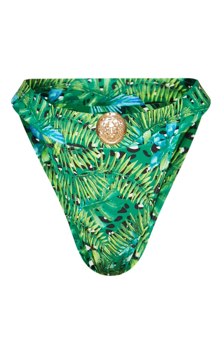 Green Jungle Print Lion Head High Rise Bikini Bottom 3