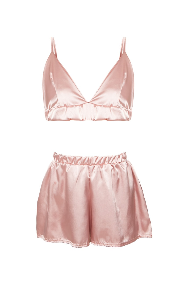 Satin Bridesmaid Embroidered Strappy Short PJ Set 3