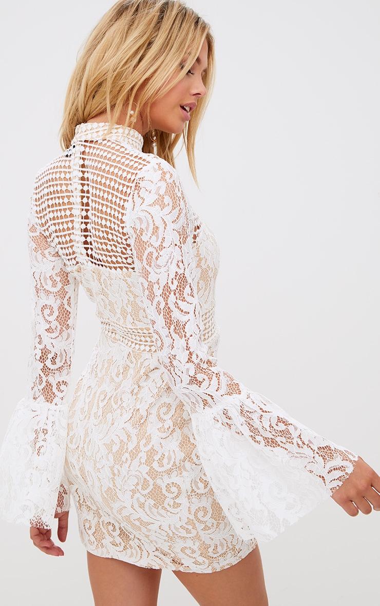 White Crochet Lace Flared Cuff  Bodycon Dress 2