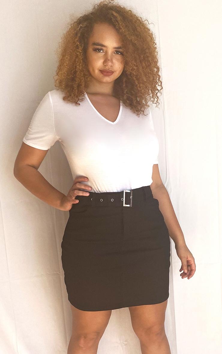 Plus Washed Black Disco Belted Denim Mini Skirt 1