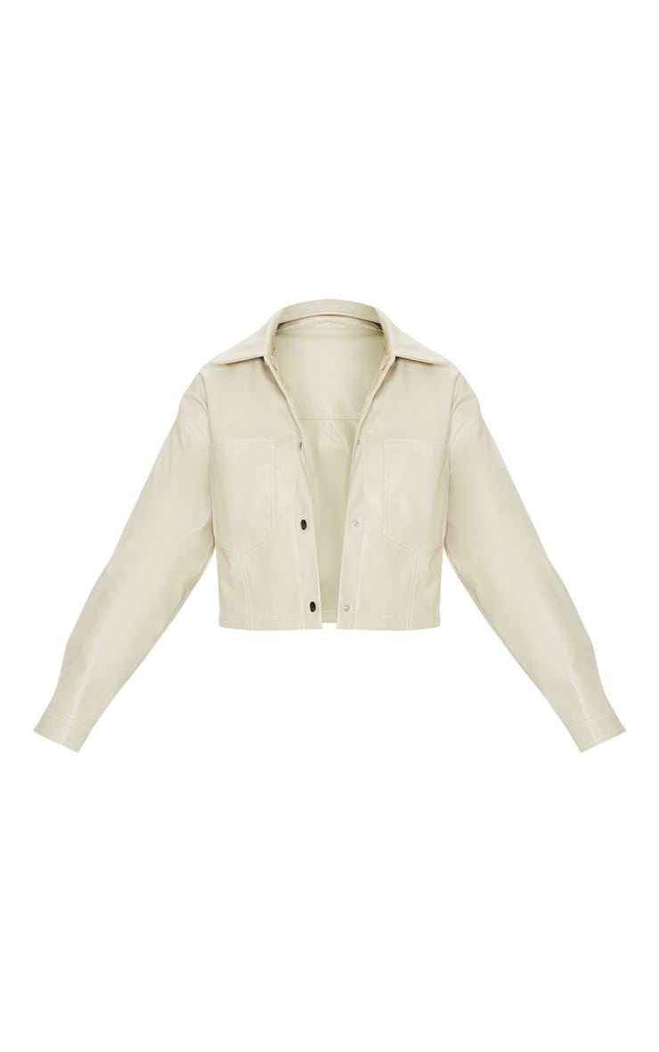 Stone Faux Leather Contrast Stitch Crop Jacket 3