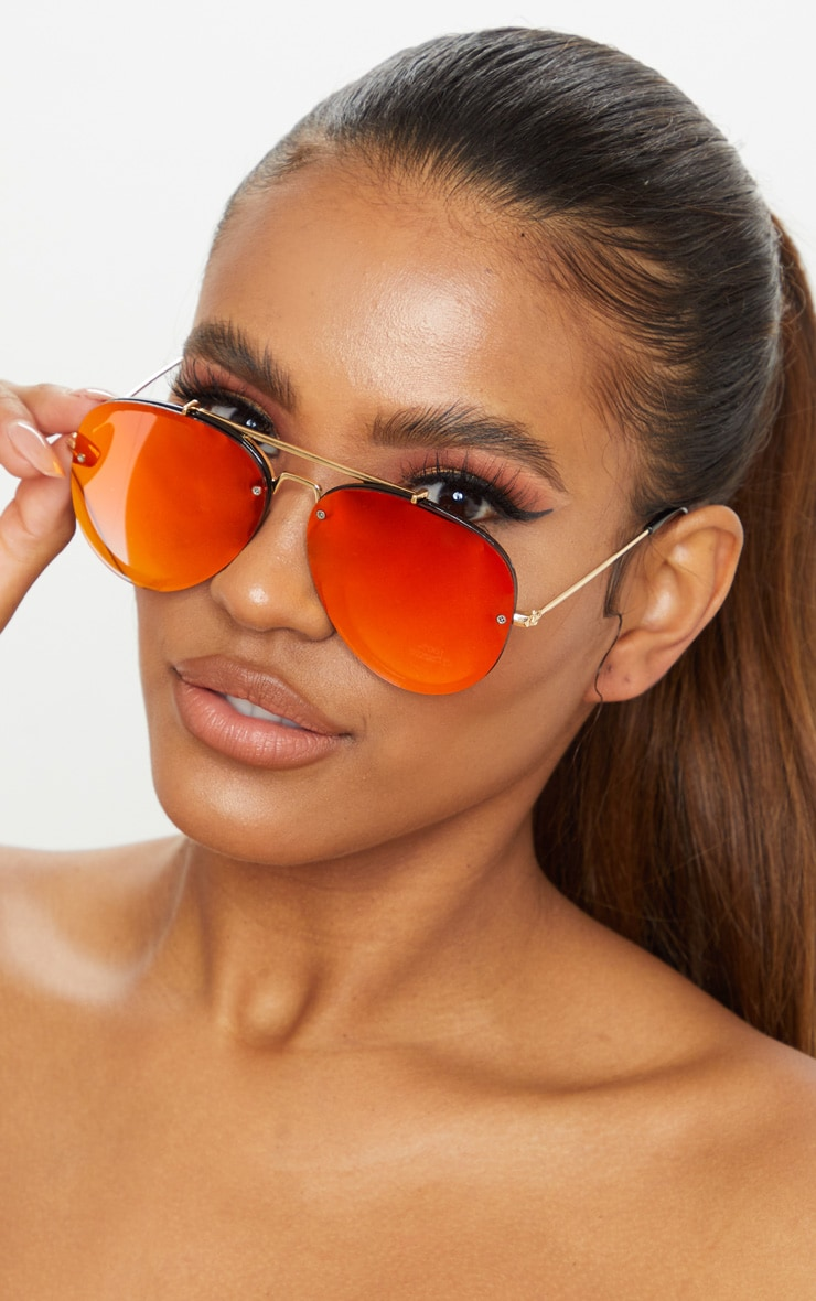 Red Tinted Lens Aviator Sunglasses 1