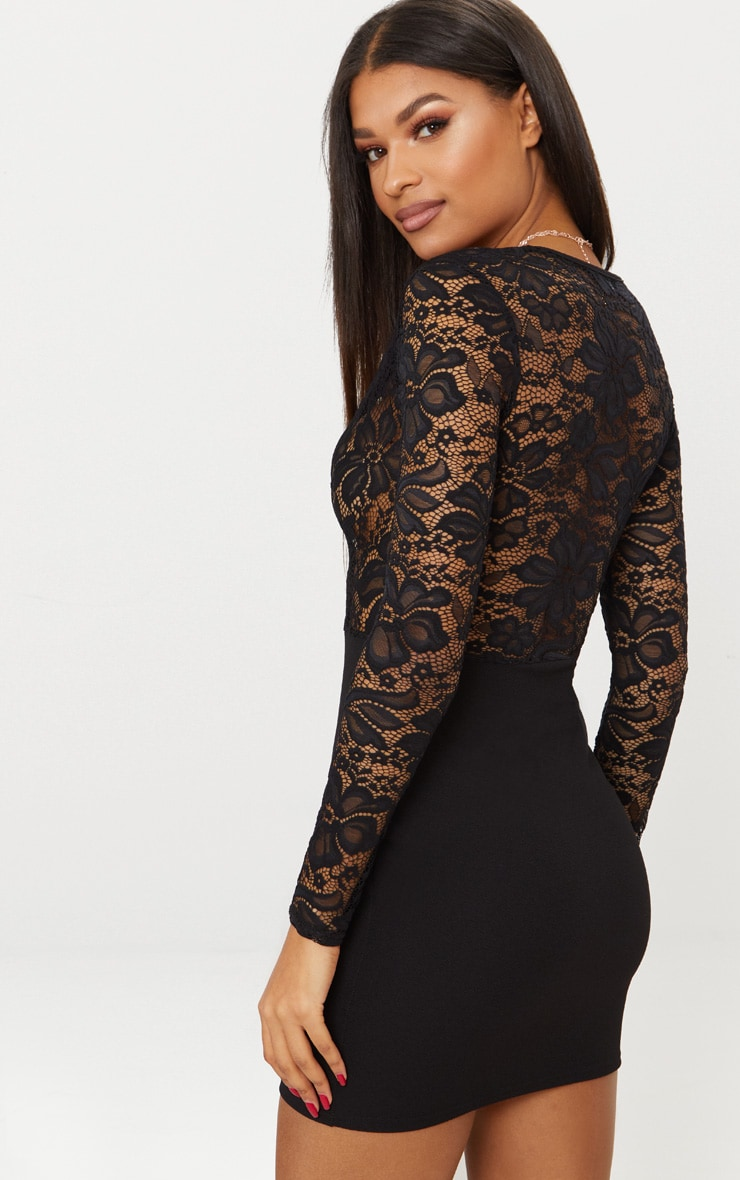 Black Lace Top Long Sleeve Bodycon Dress 2